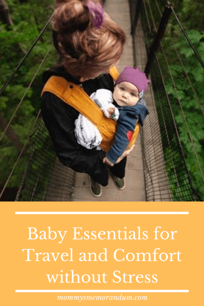 A baby carrier calms the infant