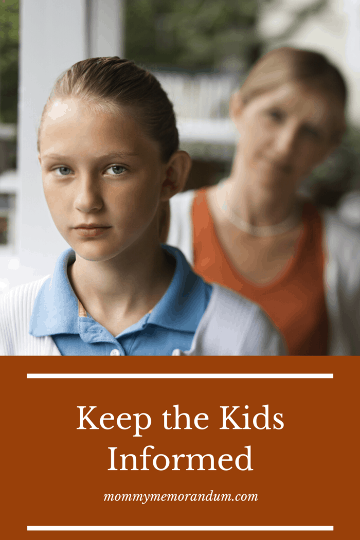 When you are injured and caring for others, keep the kids informed. Let them know how things might change while you're recovering from your injury.