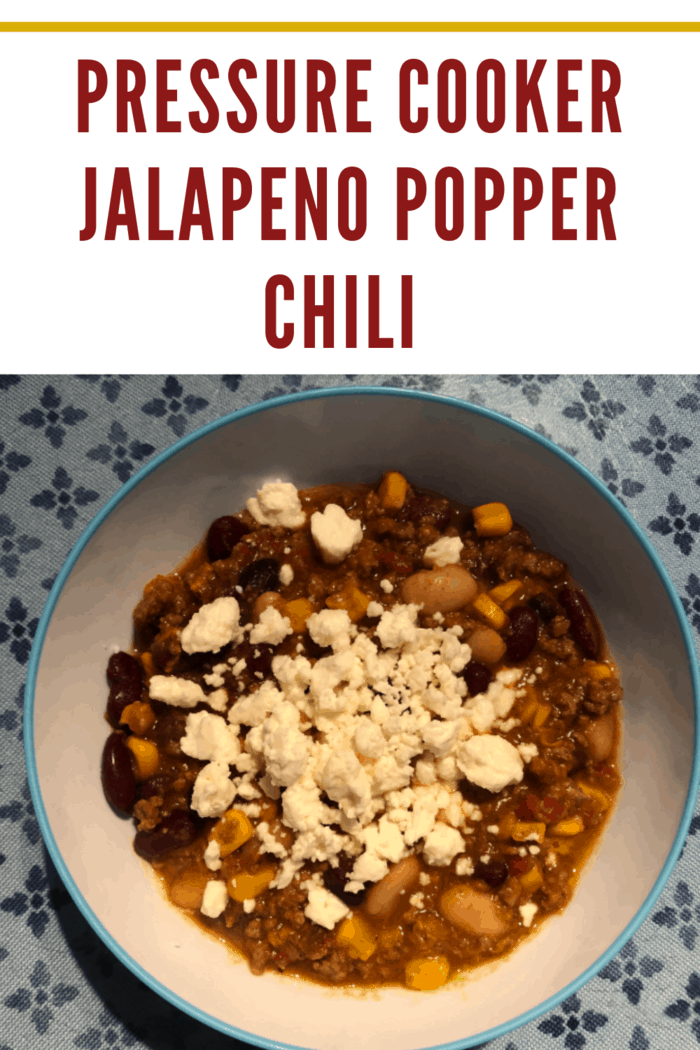 This Pressure Jalapeno Popper Chili recipe has all the flavors of your favorite appetizer, but it's served in a bowl with more beans and corn!