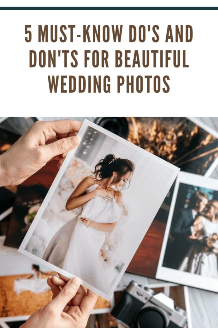 beautiful wedding photos on table