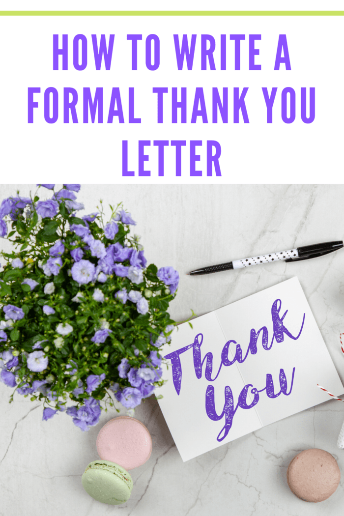 thank you note with forget me not flowers and macarons