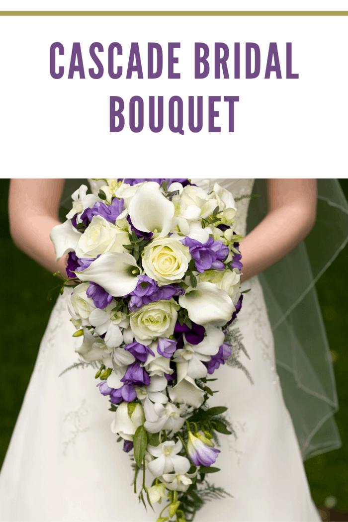 purple, pale yellow cascade bridal bouquet