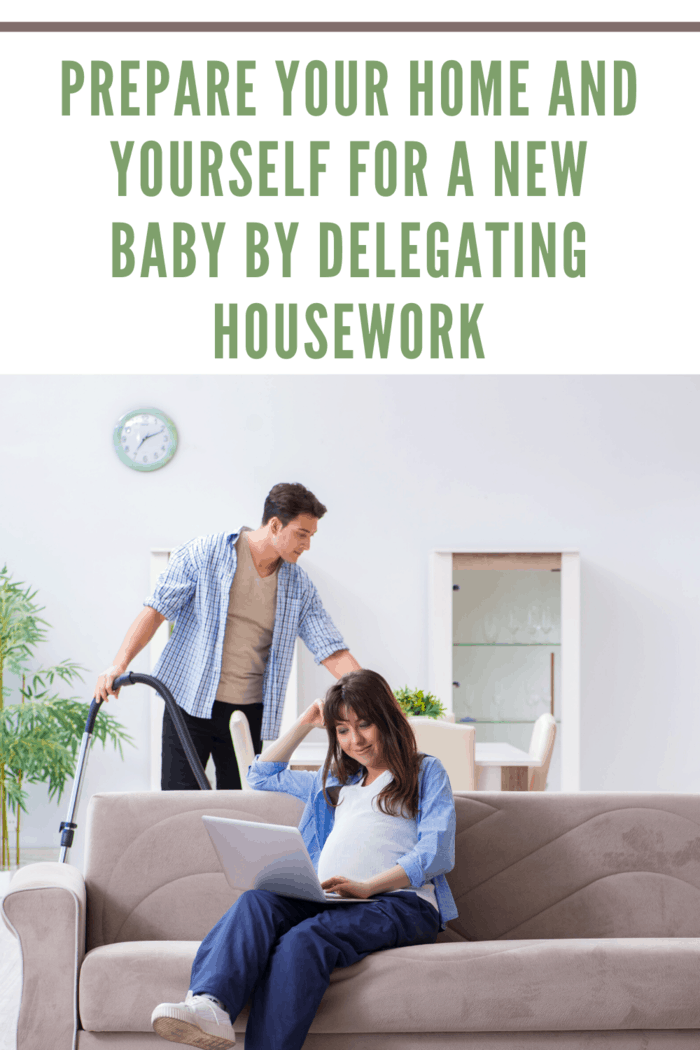 pregnant woman on coach delegating housework to family