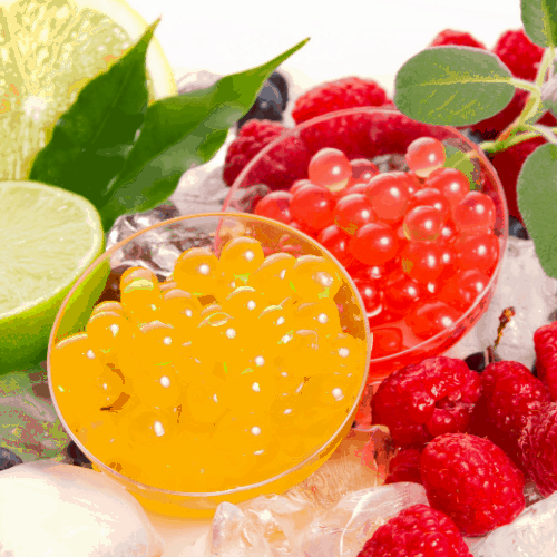 bobas for bubble tea with fresh fruits