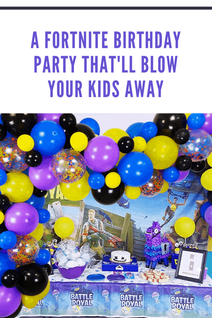 fortnite birthday theme table with balloon garland