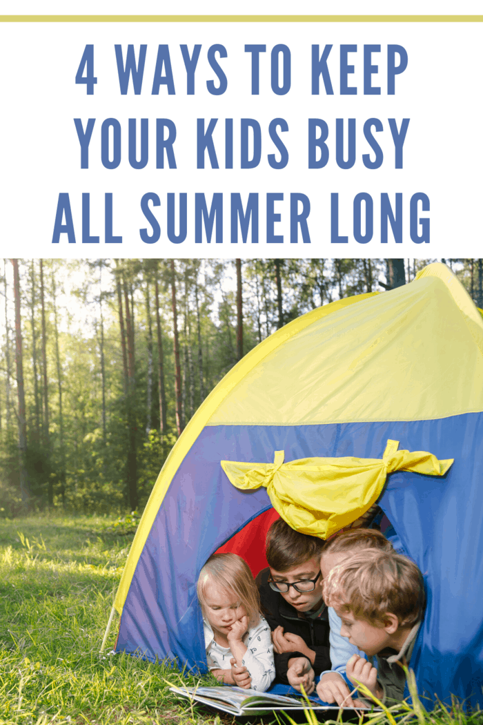 kids reading inside tent as an activity to keep busy all summer