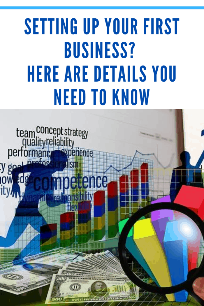 collage of graphs, charts, and data involved in setting up your first business