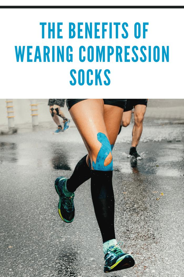 mom running in compression socks