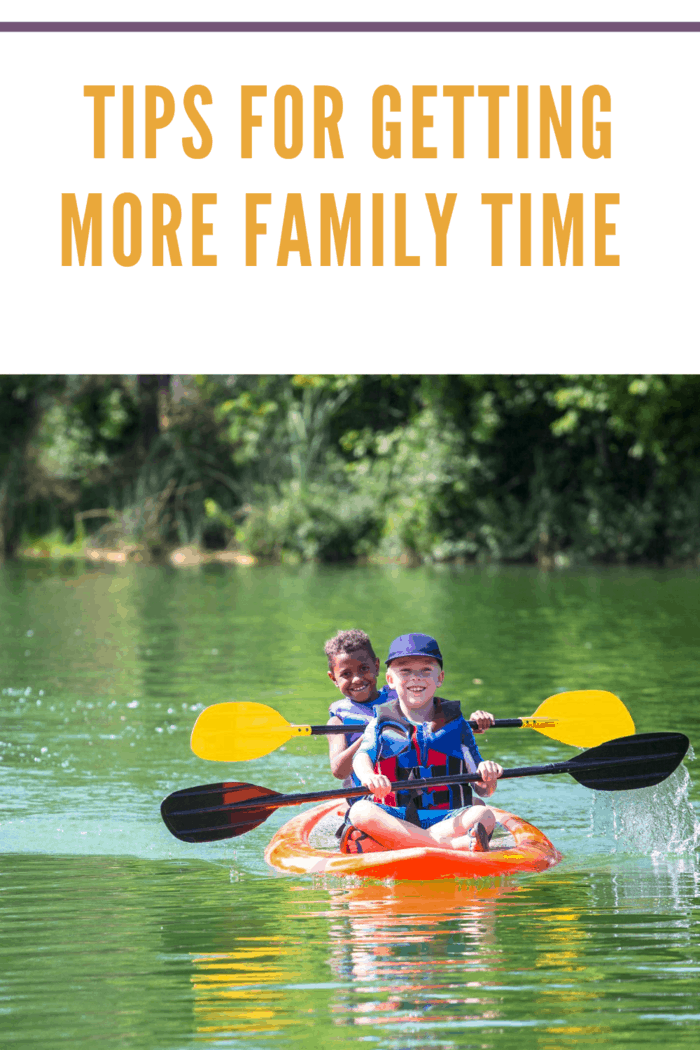 young boys in tandem kayak for family time