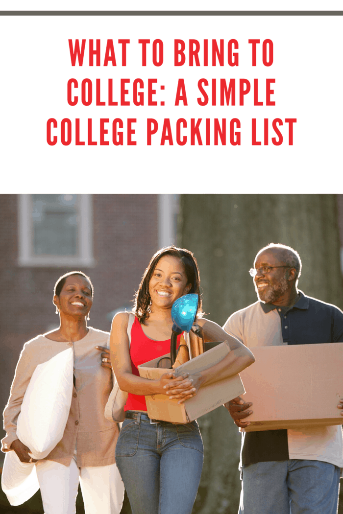 college student heading to college with parents carrying items from the simple college packing list