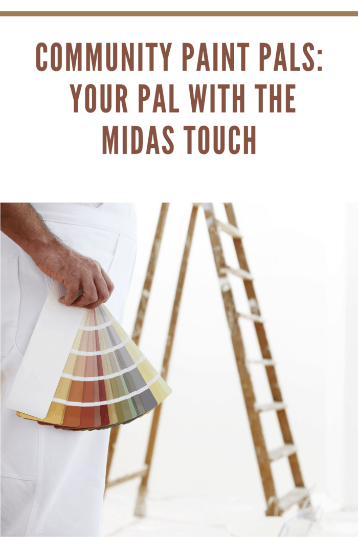 painter man with color swatch in your hand and ladder on background