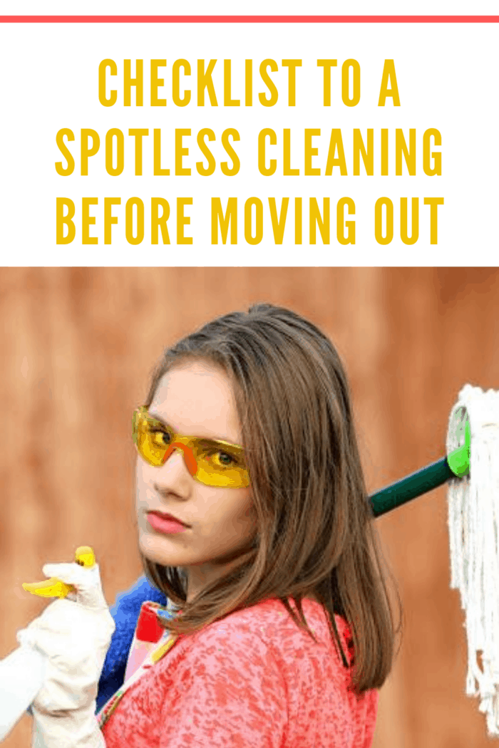 woman with goggles on, mop over shoulder, and spray bottle ready to do cleaning before moving out