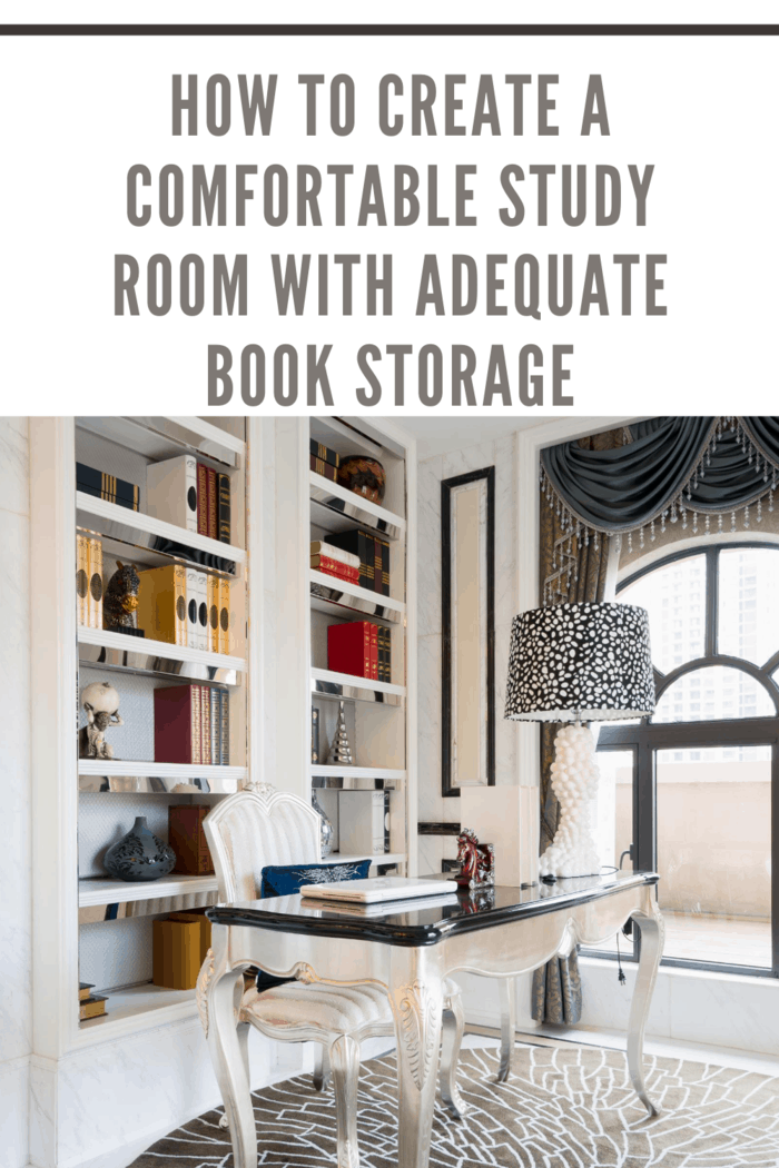 study room with nice decoration and book storage