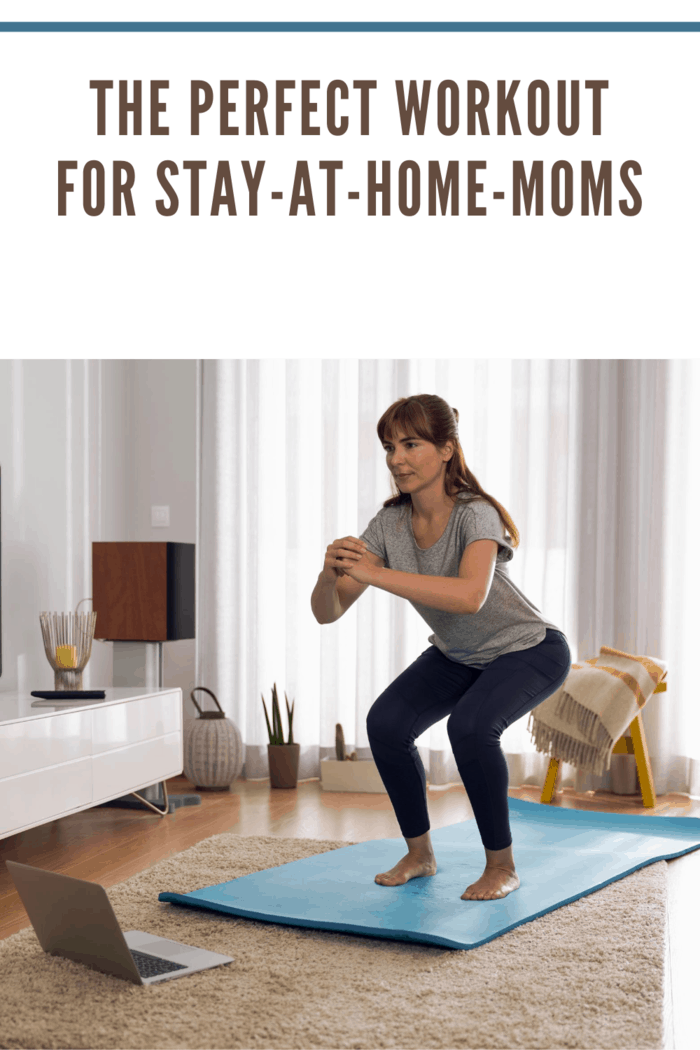 Full length shot of a woman doing exercise at home with the perfect workout for sahms
