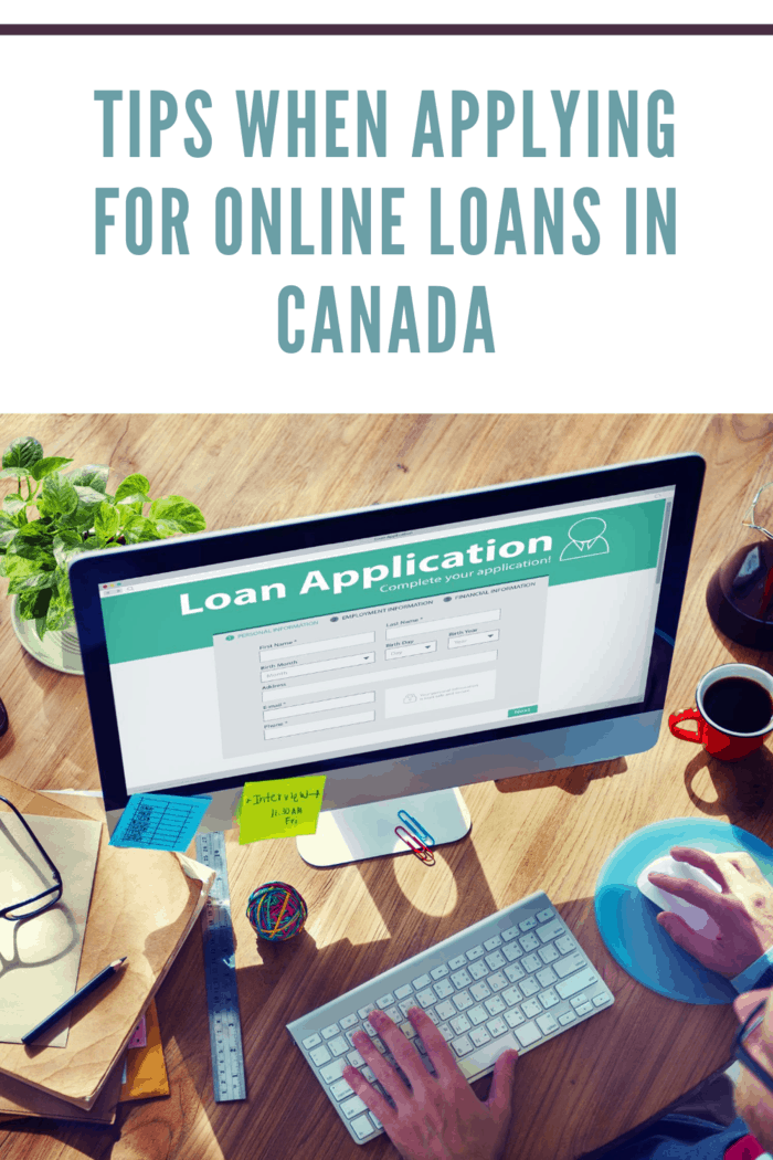person on computer visiting online loans in canada website to apply for loan