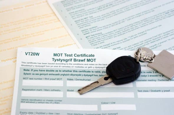 UK/Welsh MOT certificate after MOT testing
