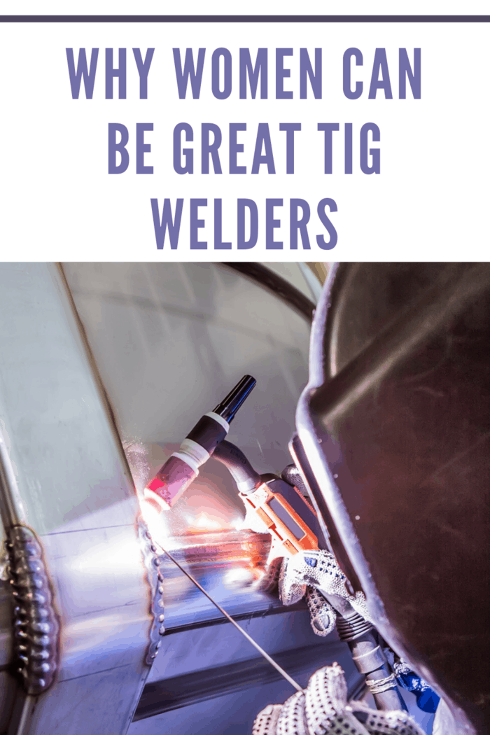 woman tig welding doing her trade