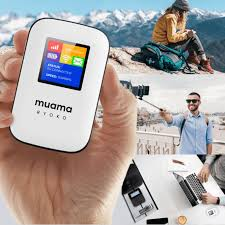 The Muama Ryoko 4G Wi-Fi Router in the palm of a hand