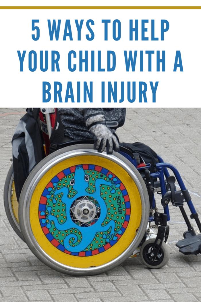 child's wheelchair with chameleon wheels after child brain injury
