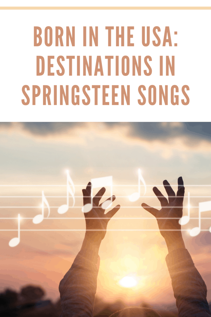Abstract woman hands touching music notes on nature background, music concept of destinations in springsteen songs