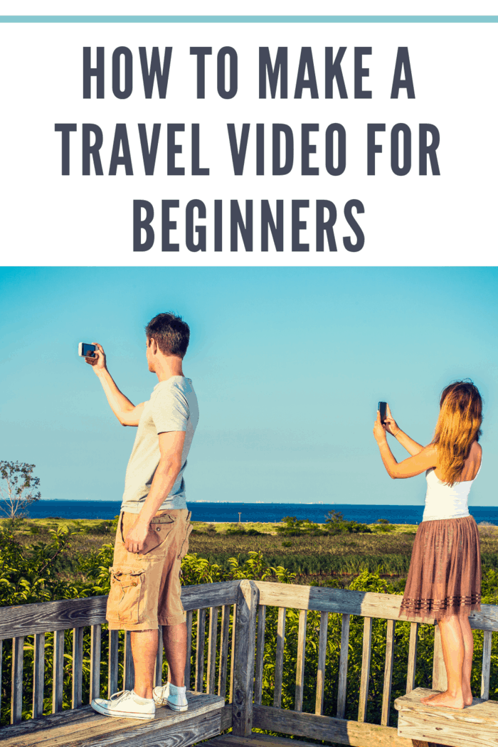 Traveling couple video recording scenery of beach on remote location, using mobile phones, guy wearing gray T shirt, yellow pants, white sneakers, girl wearing golden brown skirt, white top, barefoot.'n