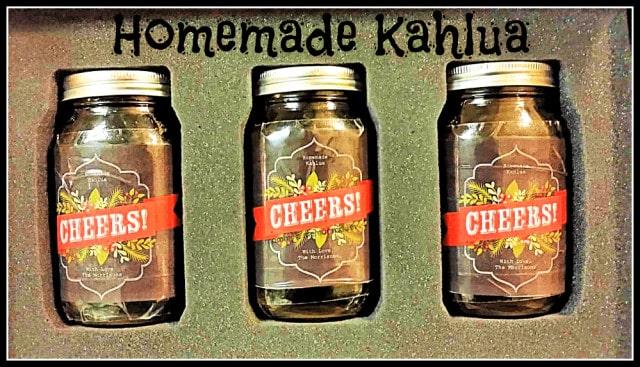 homemade instant pot Kahlua with homemade christmas label