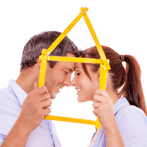 happy couple for new home living together