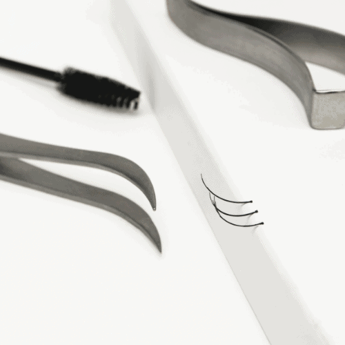 still-life of tools and fan lash extensions