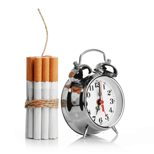 nicotine withdrawal depicted by cigarettes as TNT next to a ticking clock