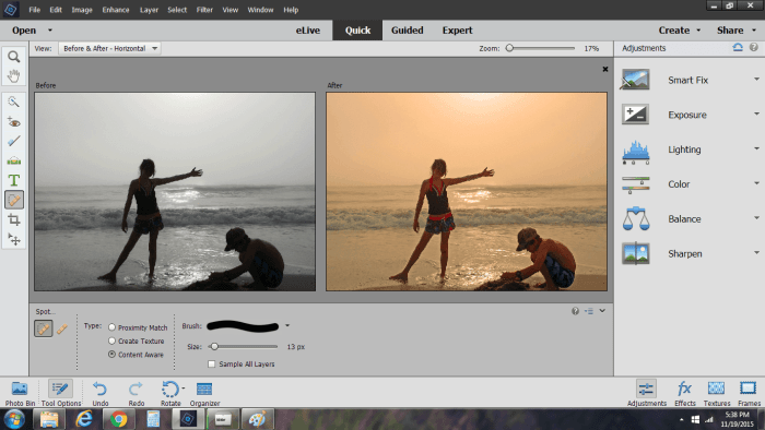 Adobe Photoshop Elements 14 before and after beach