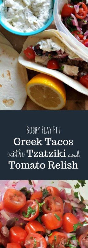 Your Tuesday Taco Night just went Greek with this delicious recipe for Greek Tacos with Tzatziki and Tomato Relish. #BobbyFlayFitGreekTacoswithTzatzikiandTomatoRelish #bobbyflay #bobbyflayrecipes #bobbyflayfit, #bobbyflaygreektacos #greektacos