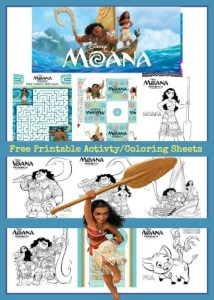 Free Moana Activities and Moana Coloring Sheets