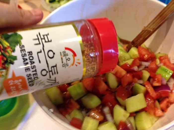 cucumber salad recipe adding sesame seeds