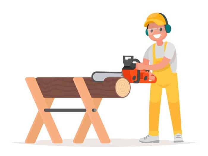 Man-dressed-in-working-clothes-is-sawing-a-tree-with-a-chainsaw.-Work-of-the-woodcutter