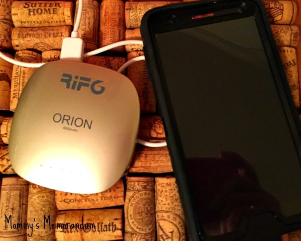 ORION portable charger on cork