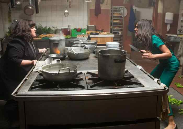 Melissa McCarthy faces off against a knife-wielding adversary (Nargis