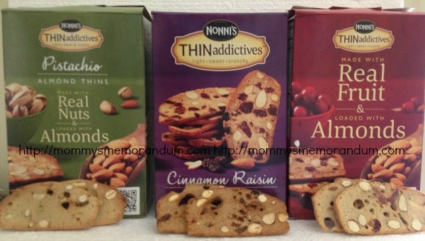 THINaddictives by Nonni's Crafted from a famiyl recipe passed on from generation to generation these cookies have real whole cranberries, raisins, almonds and pistachios