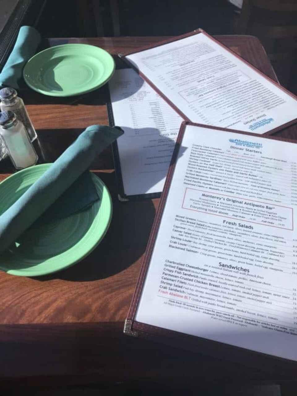 abalonetti bar and grill menu