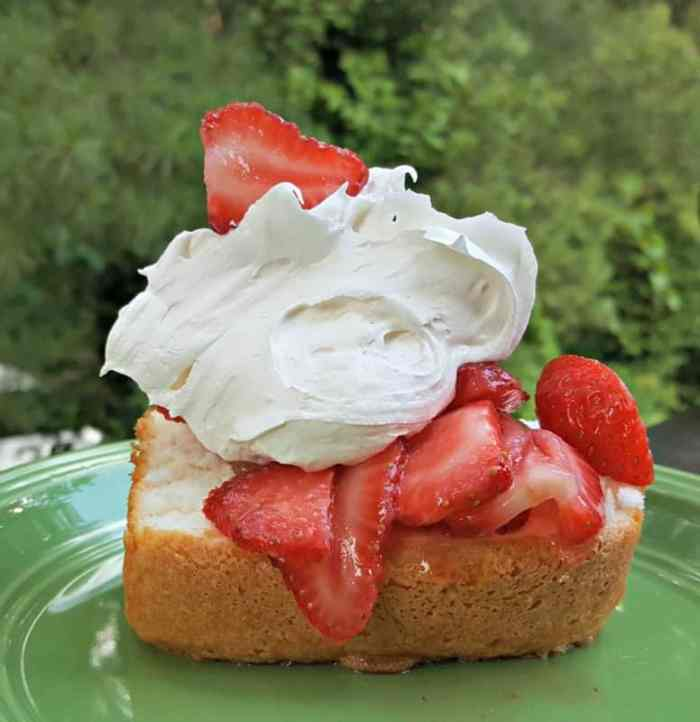 angel food cake with marshmallow topping yummy