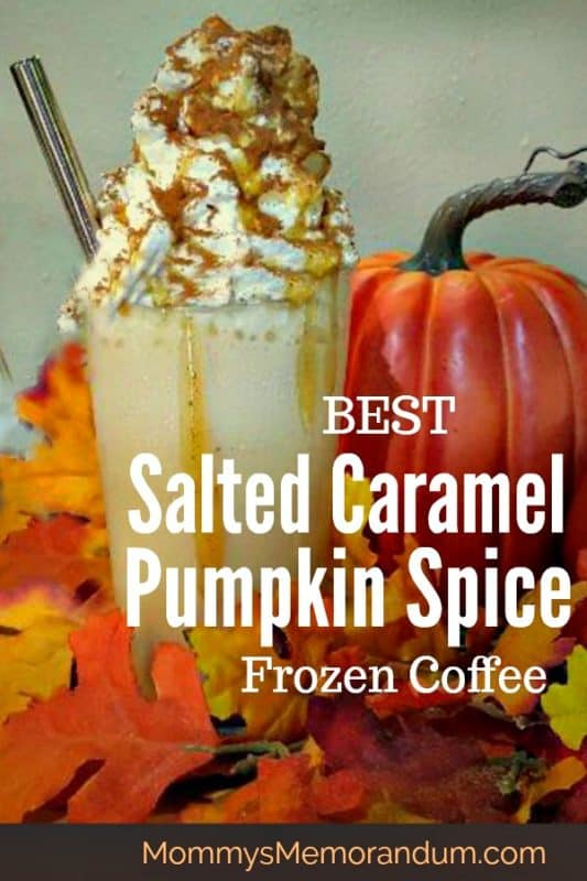 Try this fall favorite this Salted Caramel Pumpkin Spice Frozen Coffee Recipe, it's pretty close to the chain one without going out! #saltedcaramel #pumpkinspice #frozencoffee #coffee #saltedcaramelpumpkinspicecoffee