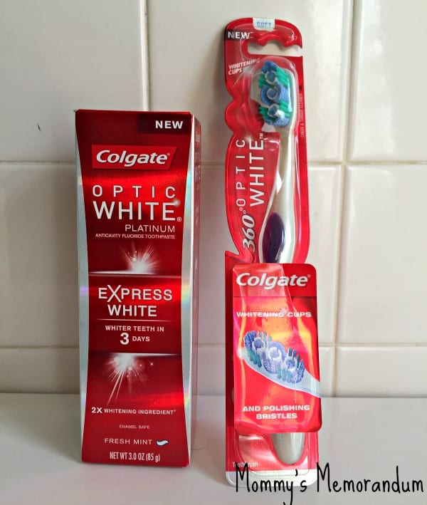 colgate optic white express white toothpaste and 360 toothbrush