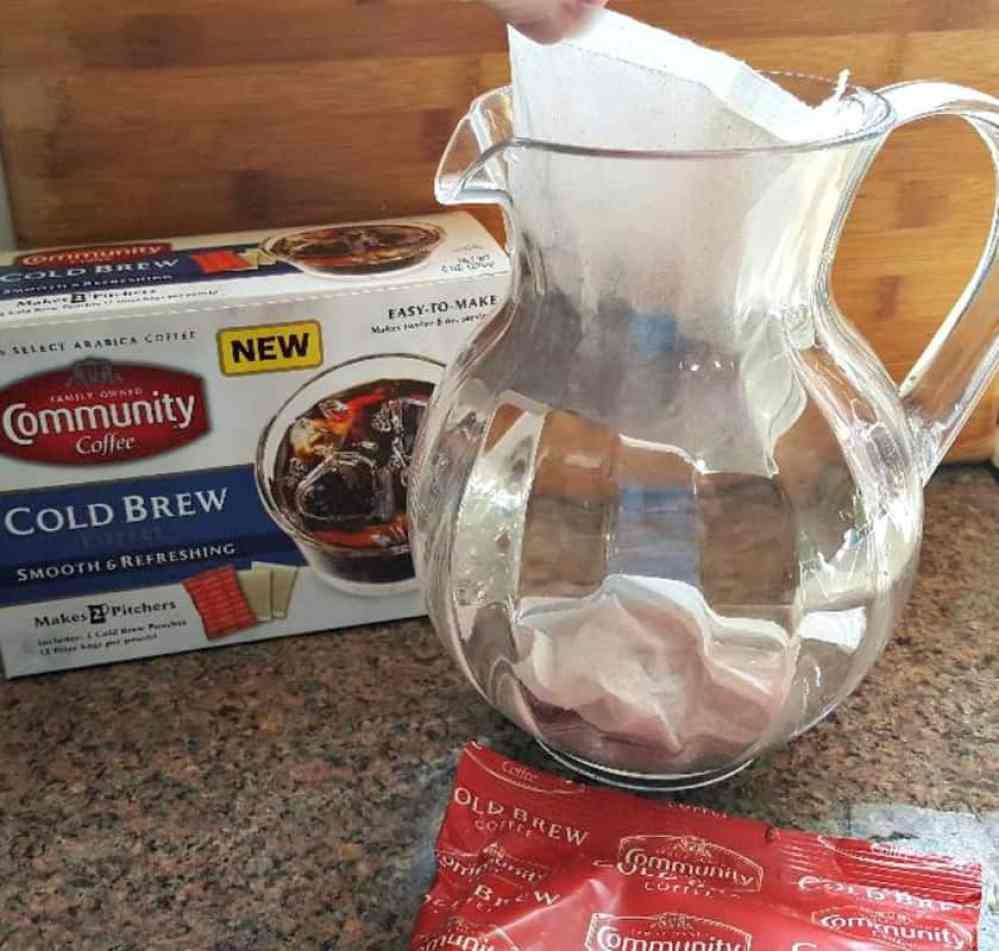 community coffee cold brew coffee filters in pitcher