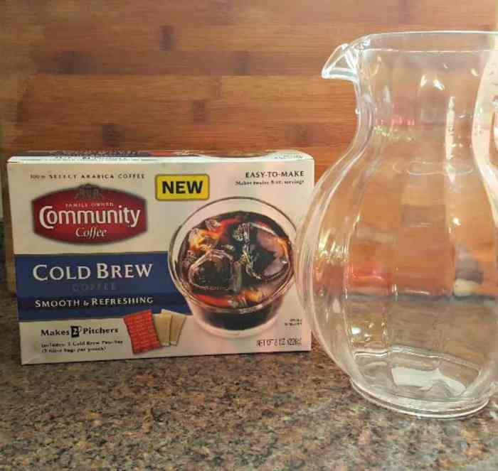 community coffee cold brew coffee with pitcher