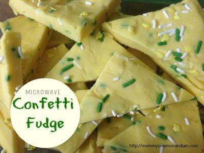 confetti fudge made in the microwave