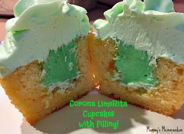 corona lime rita cupcakes with filling cut in half