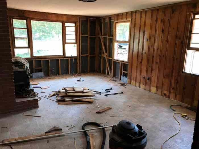 dad's house home remodel great room demolition front wall