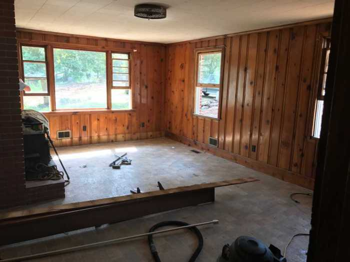 dad's house home remodel great room demolition outside wall
