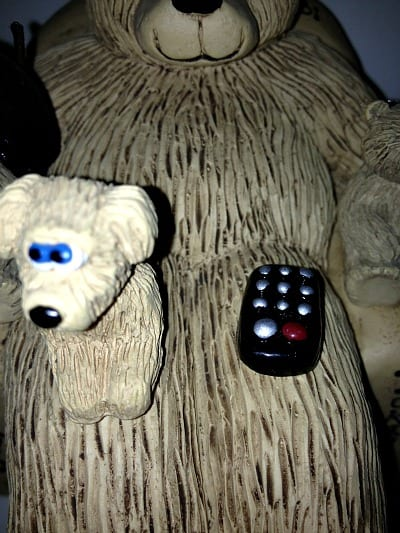 dog with remote on bears on chairs