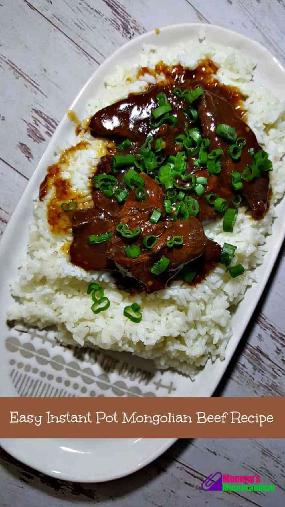 easy mongolian beef recipe on platter served over rice and topped with green onions