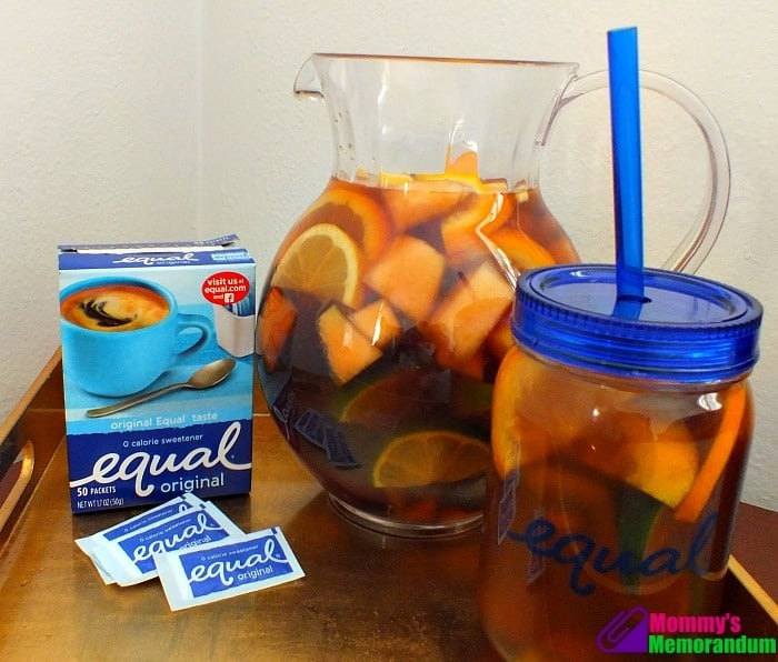 southern iced tea with fruit in pitcher